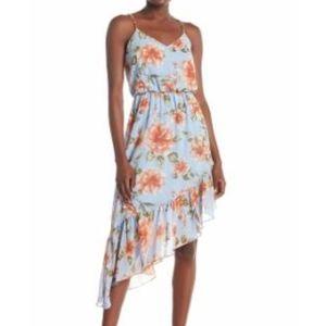 Everly Blue Floral Asymmetrical Sleeveless Dress